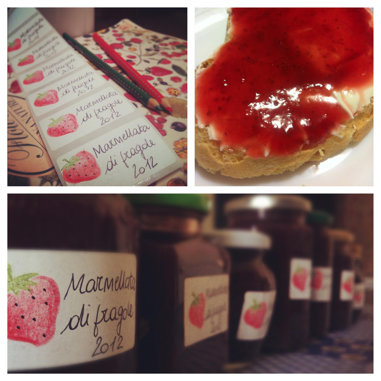 Etichette per la marmellata di fragole