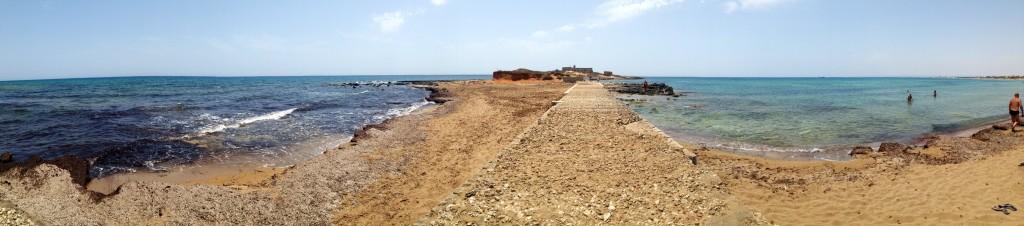panoramica isola delle correnti, faro, portopalo di capopassero, sicilia