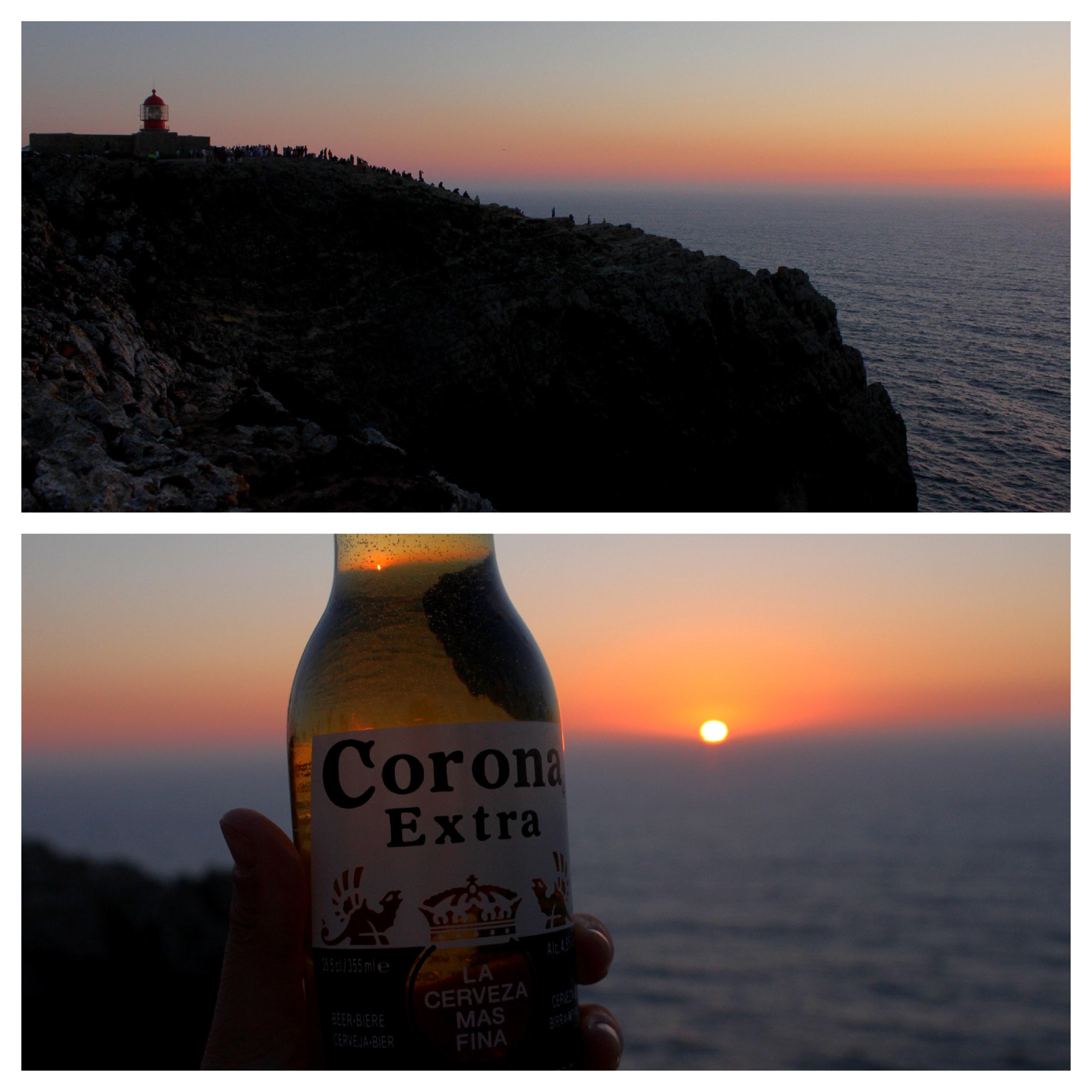 Un tramonto, una birra, gli amici a Cabo de Sao Vicente