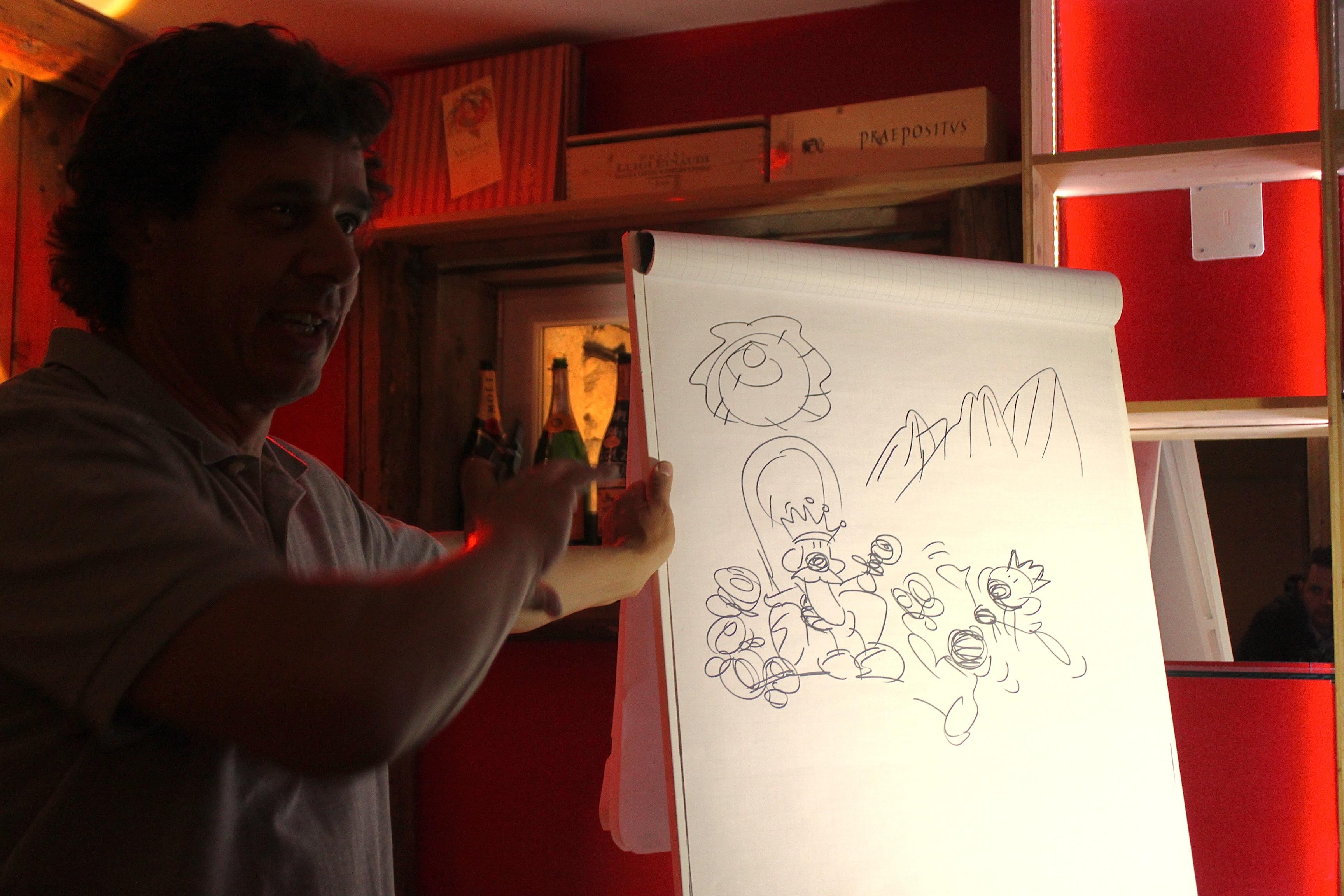 fabio vettori disegna a moena al bloggerwemoena