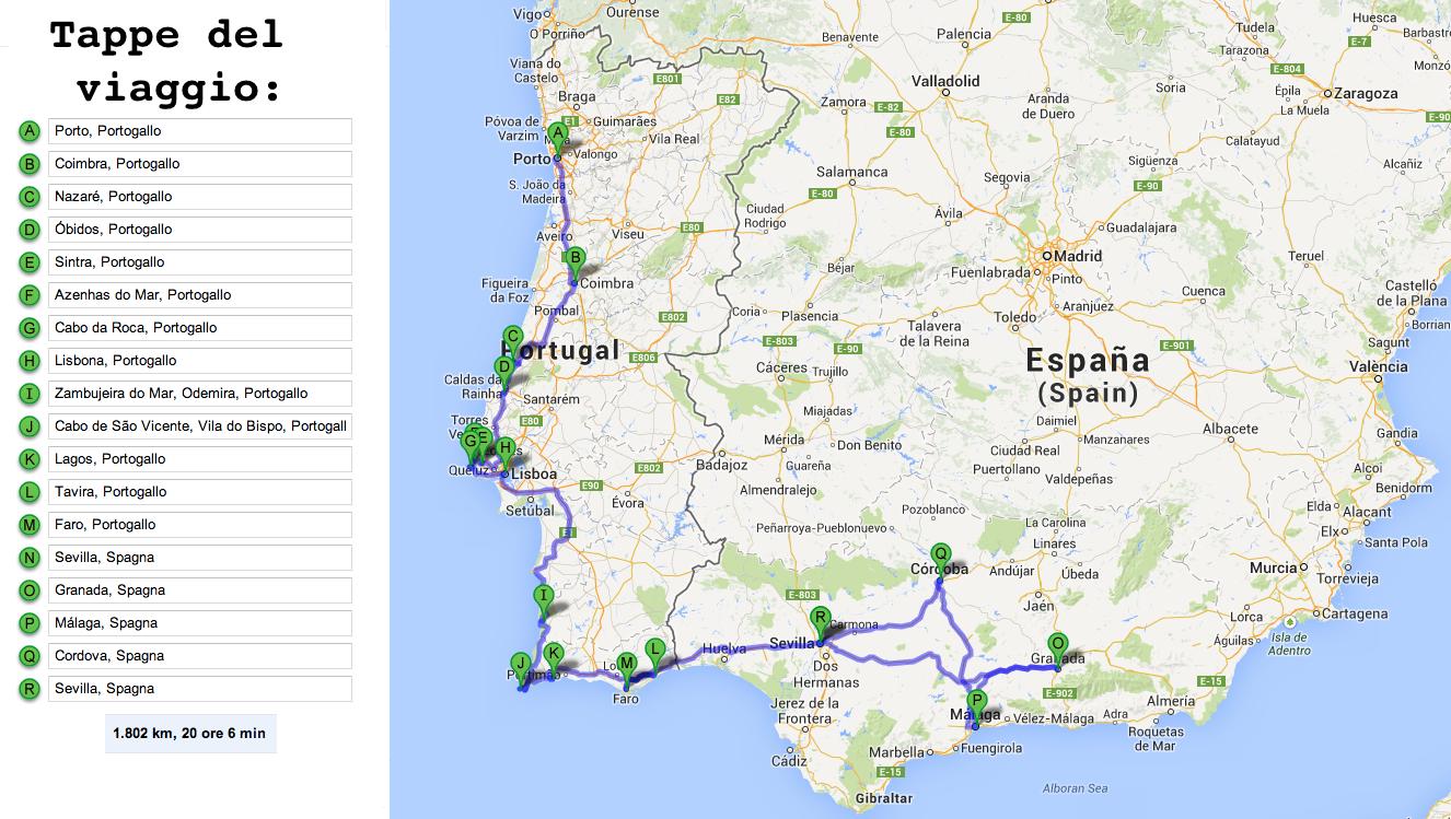 itinerario portogallo e spagna (andalusia) in macchina