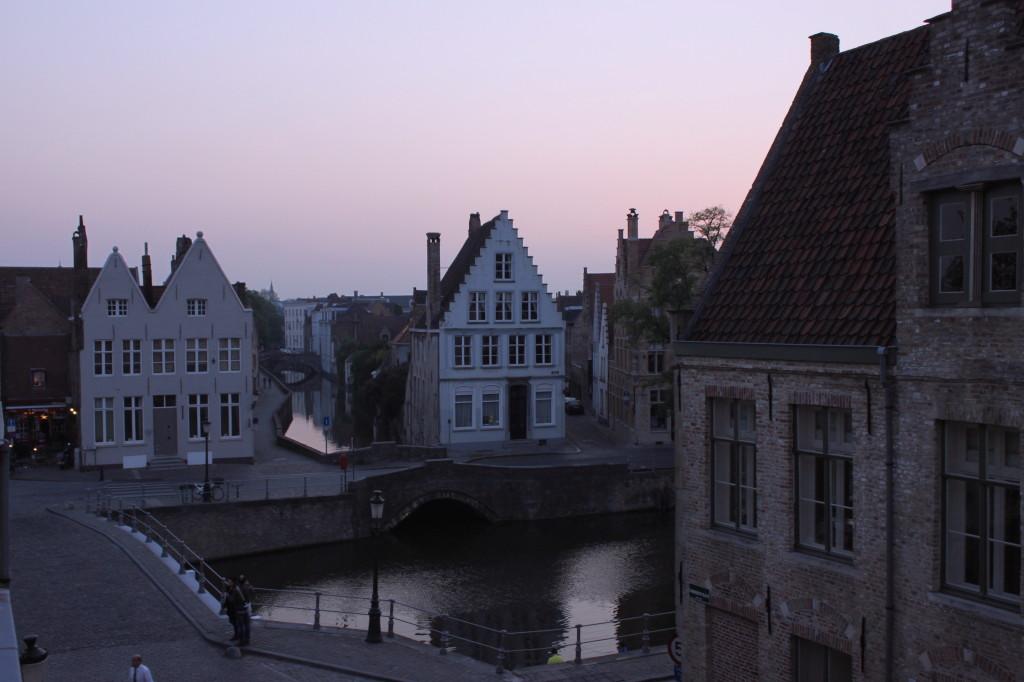 Il tramonto su Bruges dalla mia camera