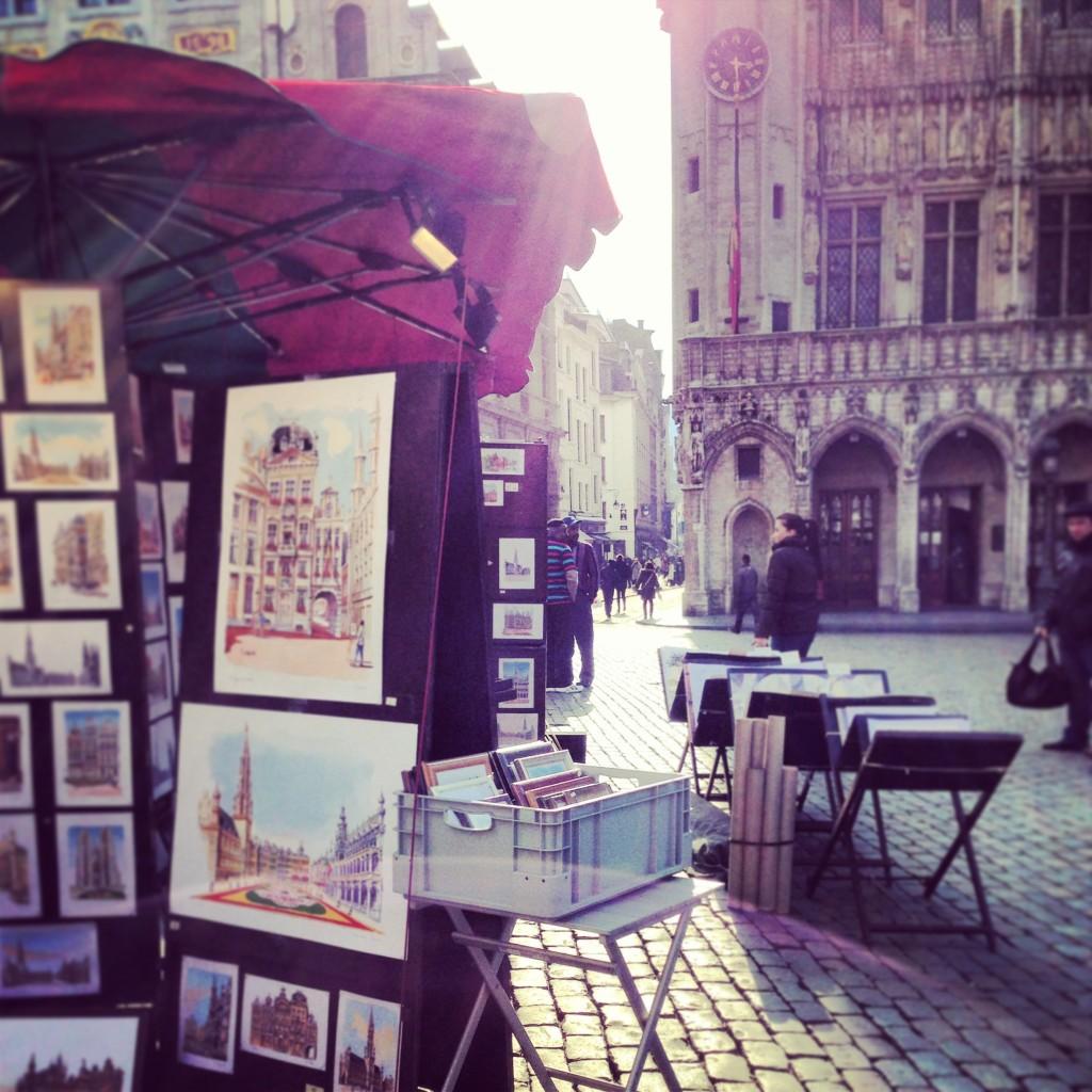 Gli acquerelli degli artisti alla Grand Place