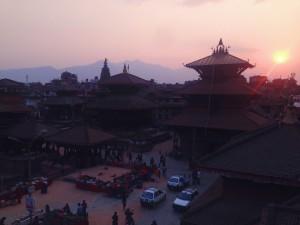 La Durbar Squar di Patan al tramonto