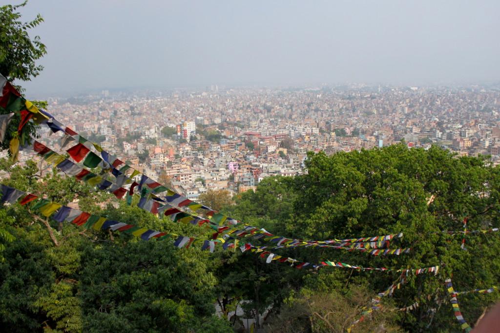 La vista su Kathmandu dal Tempio delle scimmie