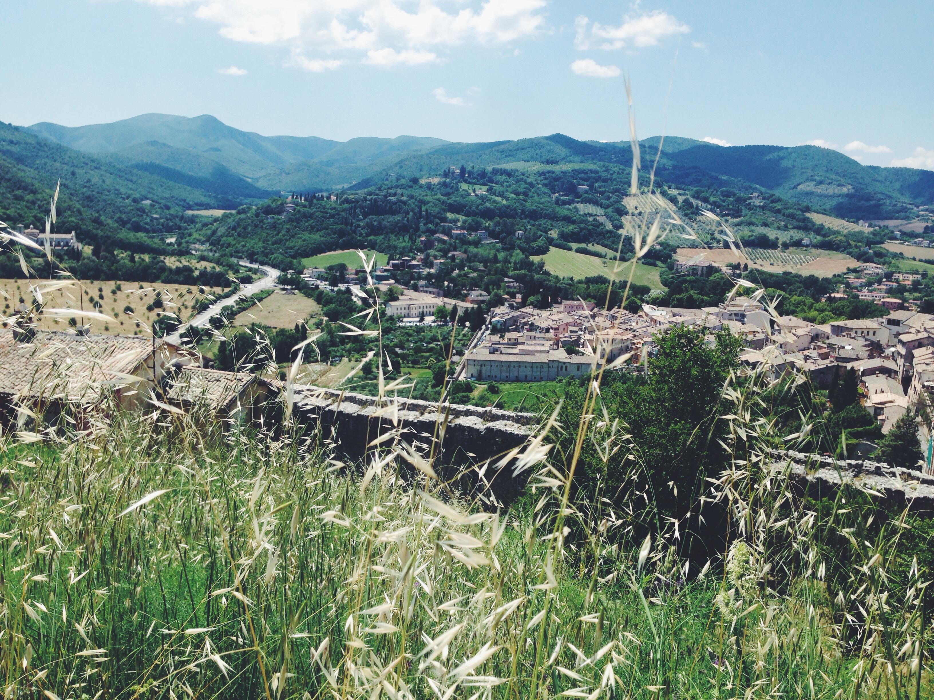 Spoleto dall'alto della Rocca Albornoziana immersa nel verde dell'Umbria