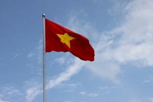 La bandiera del Vietnam che é ovunque