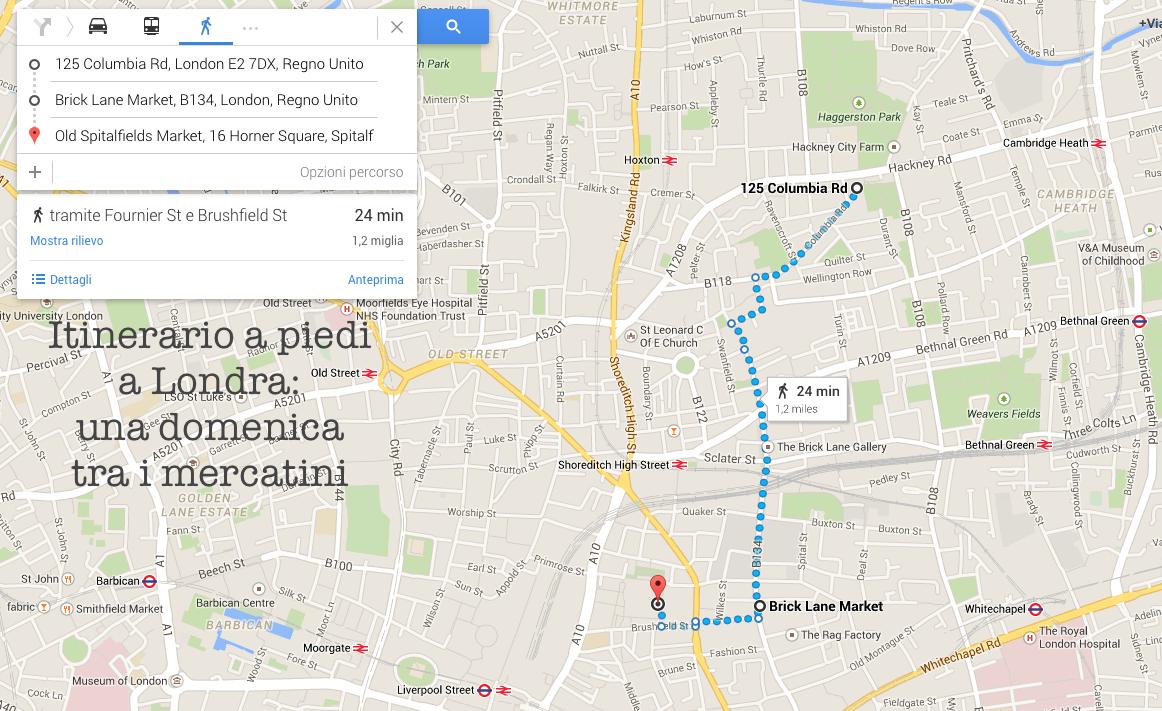 Itinerario a piedi a Londra - una domenica tra i mercatini