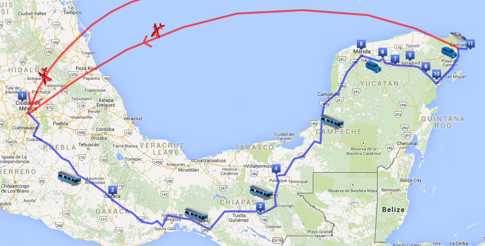 Itinerario Messico