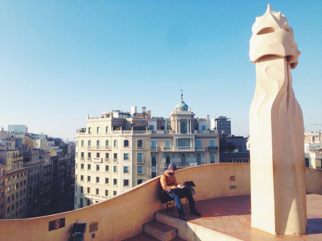 Sul tetto della Pedrera - un weekend a Barcellona