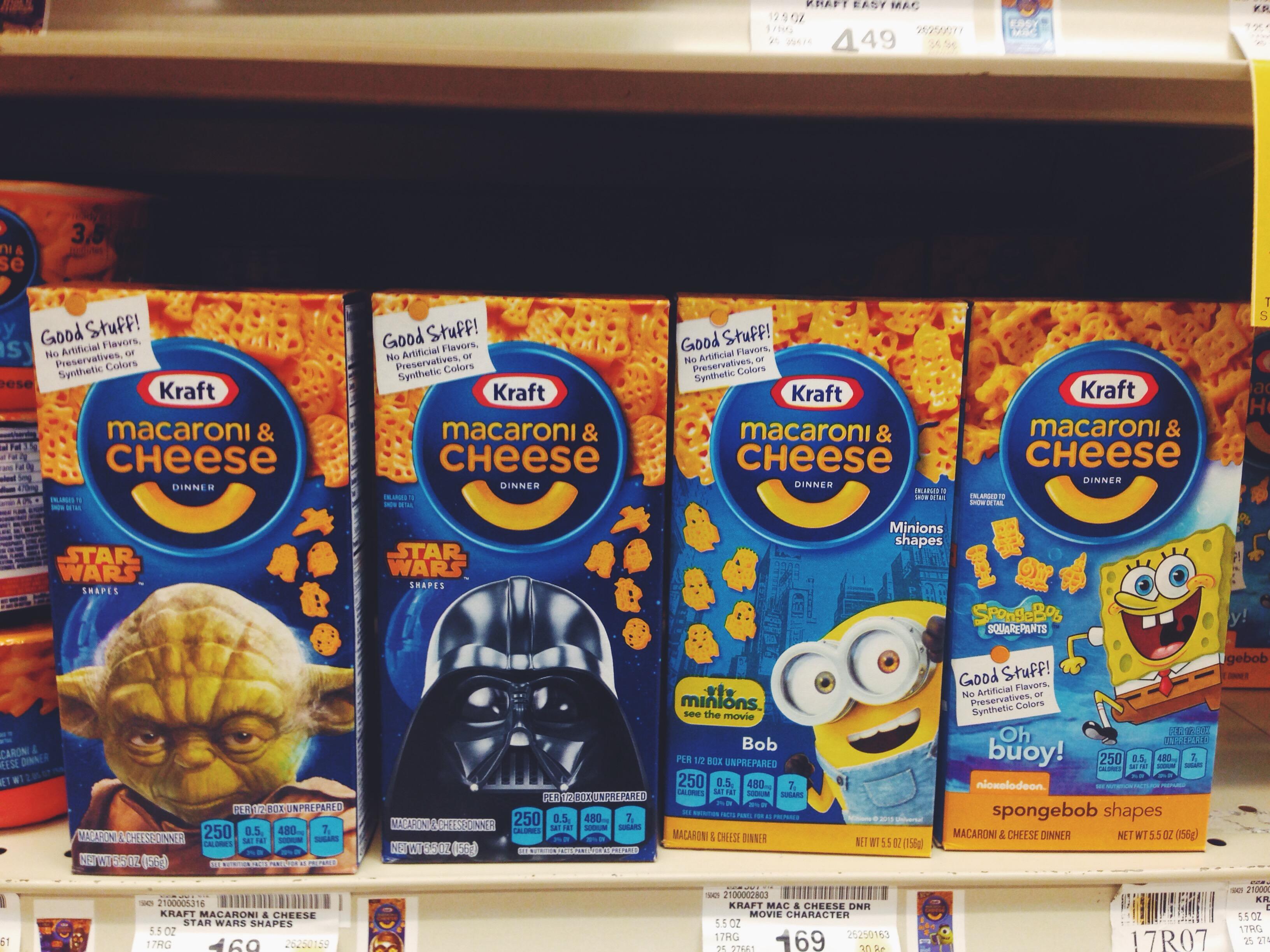 Mac&Cheese a forma di Start Wars, Minions e Spongebob