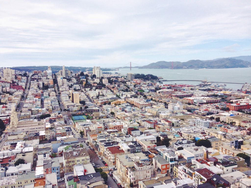 La vista panoramica  del Golden Gate di San Francisco dalla cima della Coit Tower