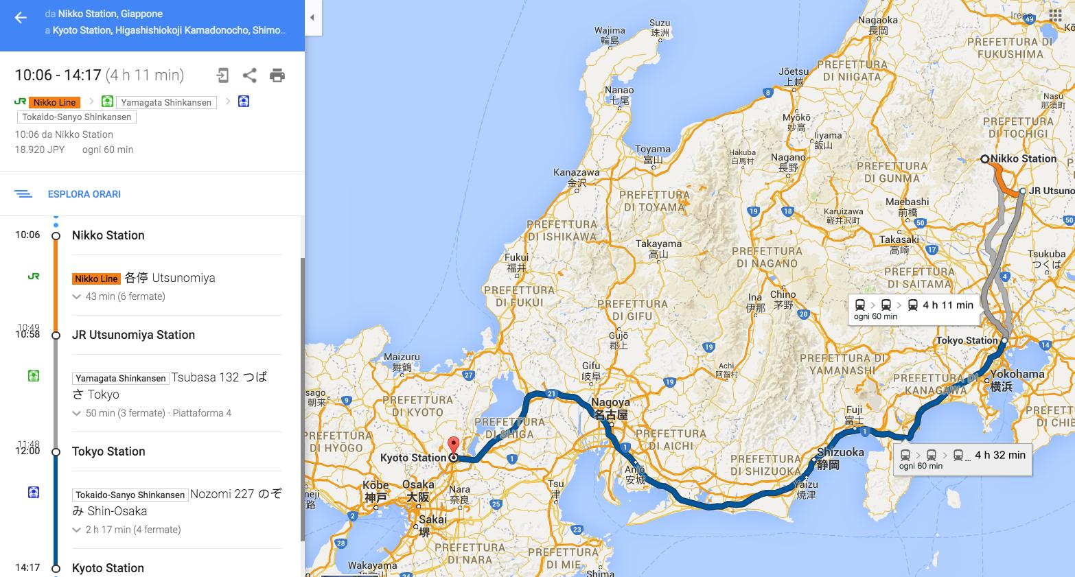 Da Nikko a Kyoto in treno