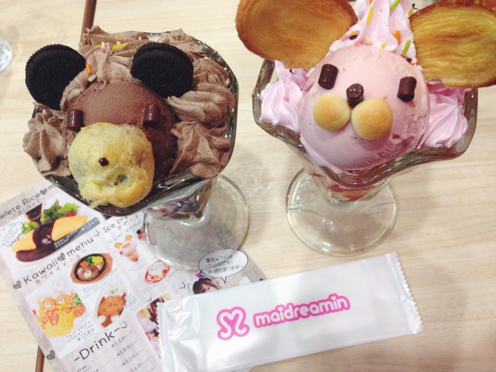 Gelato a forma di coniglio in un maid cafè in Giappone