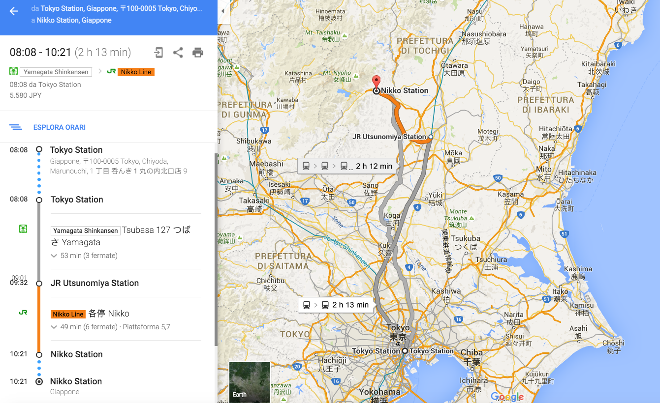 In treno da Tokyo a Nikko