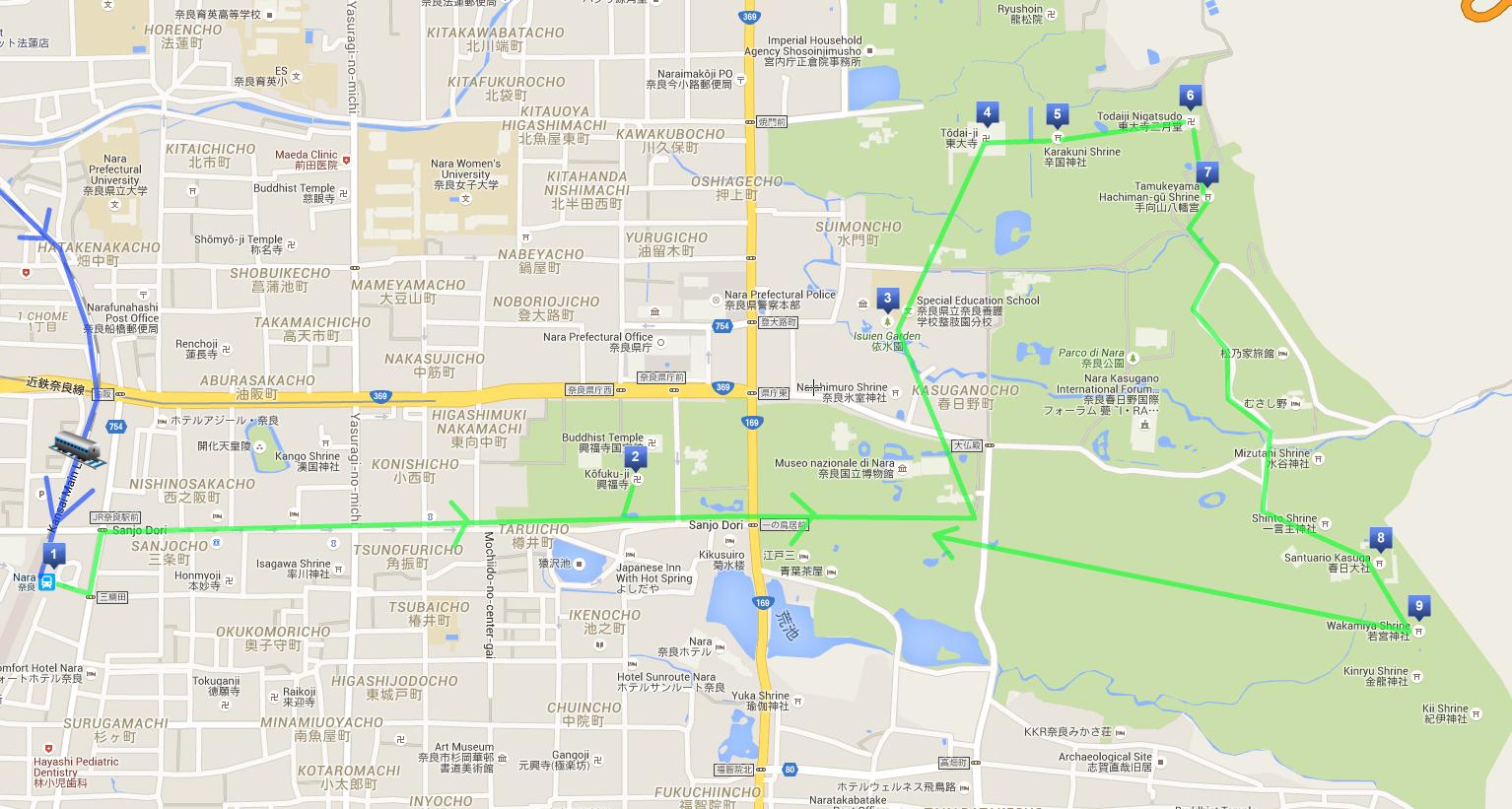 Itinerario a piedi di una giornata a Nara