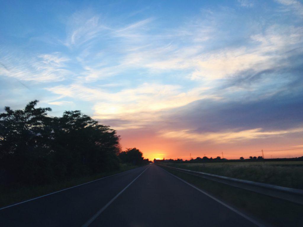 Il cielo al tramonto in Romagna
