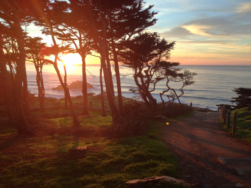 il tramonto sull'oceano a San Francisco