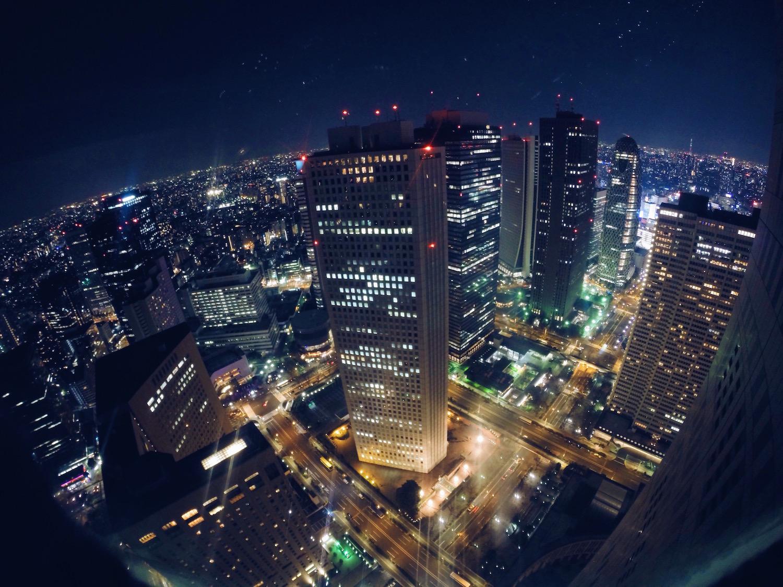 Tokyo di sera dall'alto