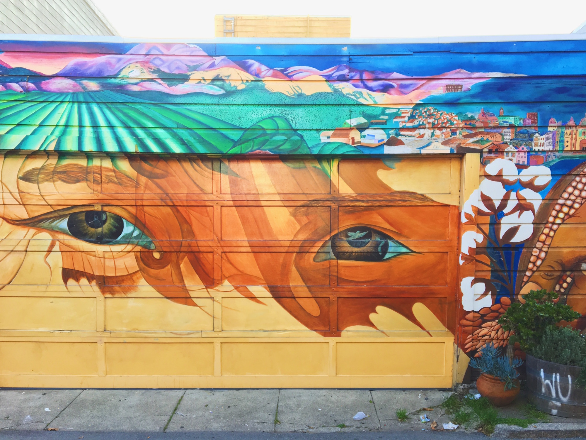 Balmy Alley - Murales nel quartiere Mission di San Francisco - Indigenous Eyes (1991) - Susan Kelk Cervantes