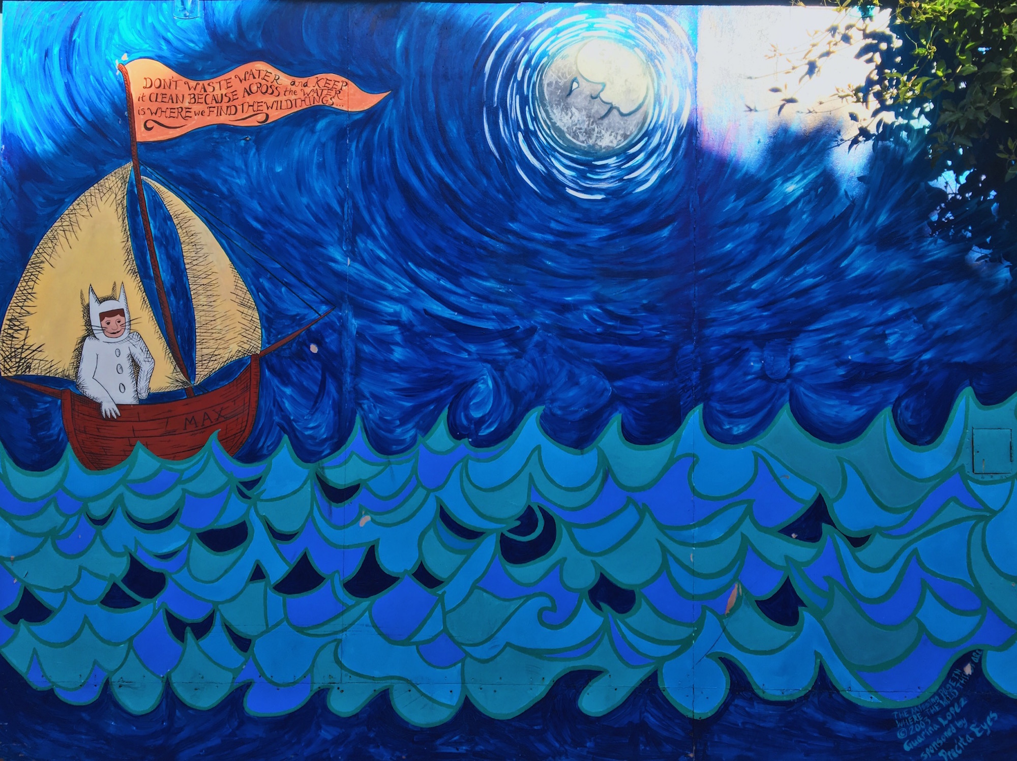 Balmy Alley - Murales nel quartiere Mission di San Francisco - The Missing Page from Where the Wild Things Are (2003) - Guarina Lopez