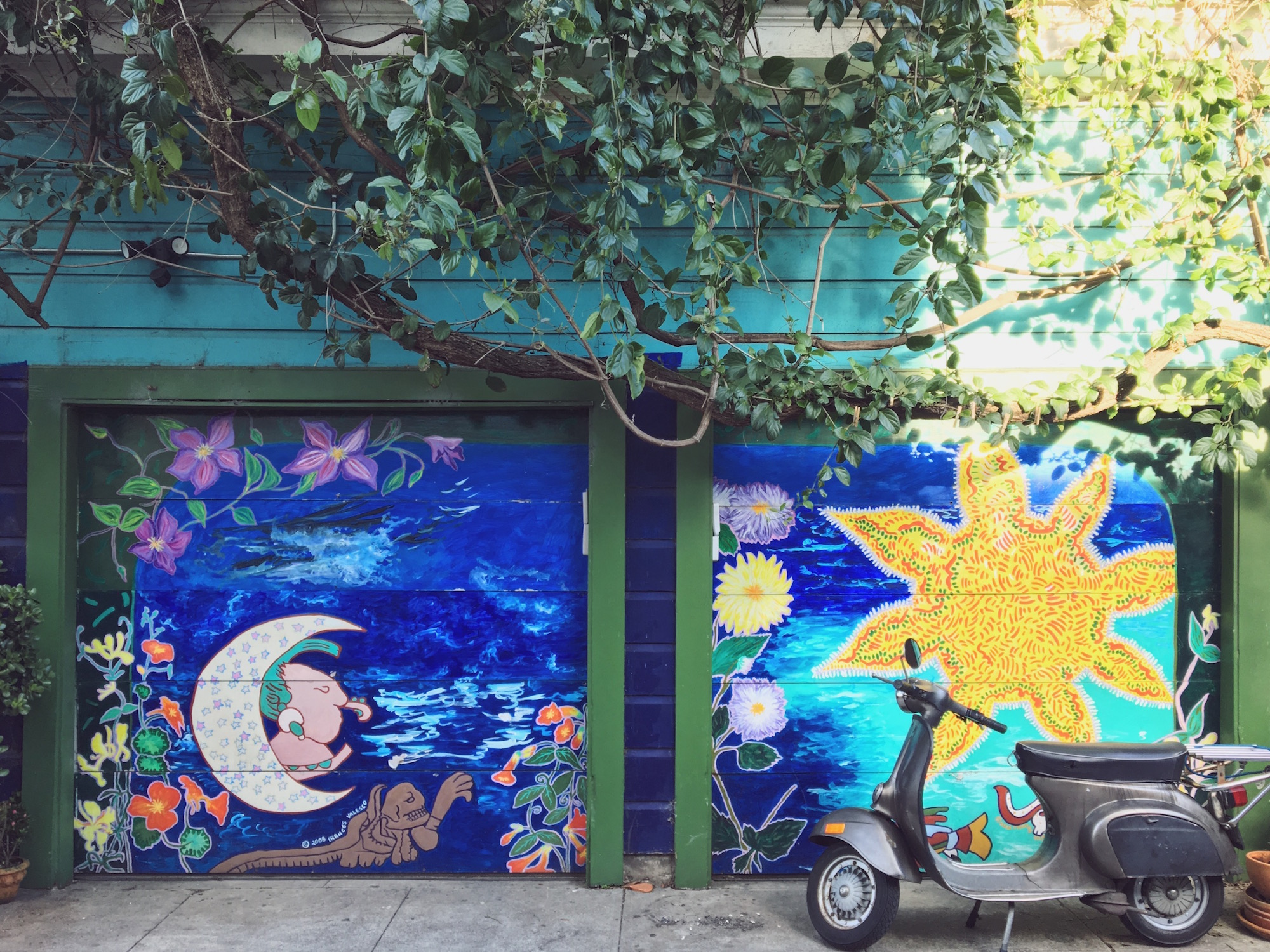 Balmy Alley - Murales nel quartiere Mission di San Francisco - The Moon and the Sun (2008) - Frances Valesco