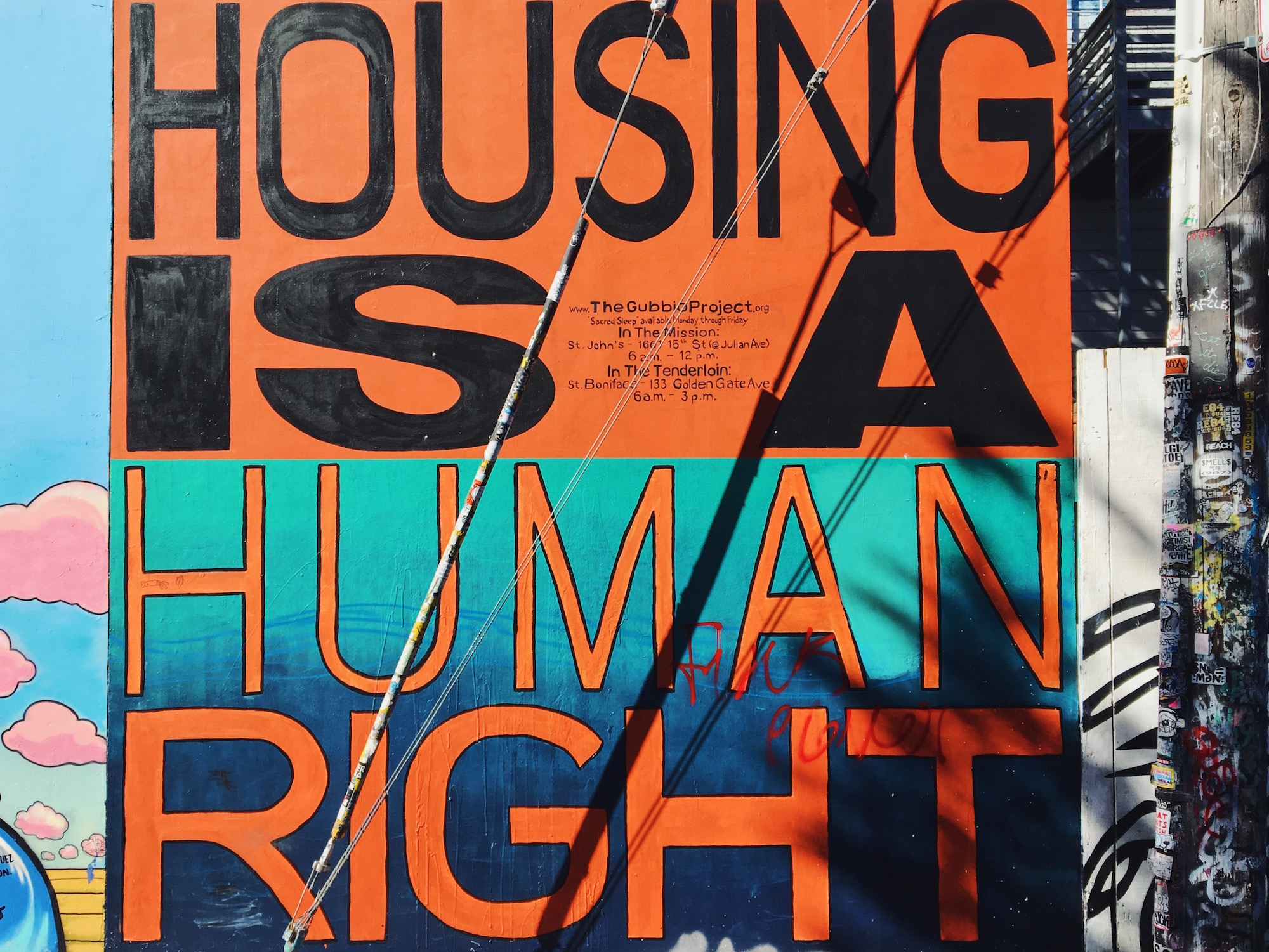 Clarion Alley - Murales nel quartiere Mission di San Francisco - Housing is a human right