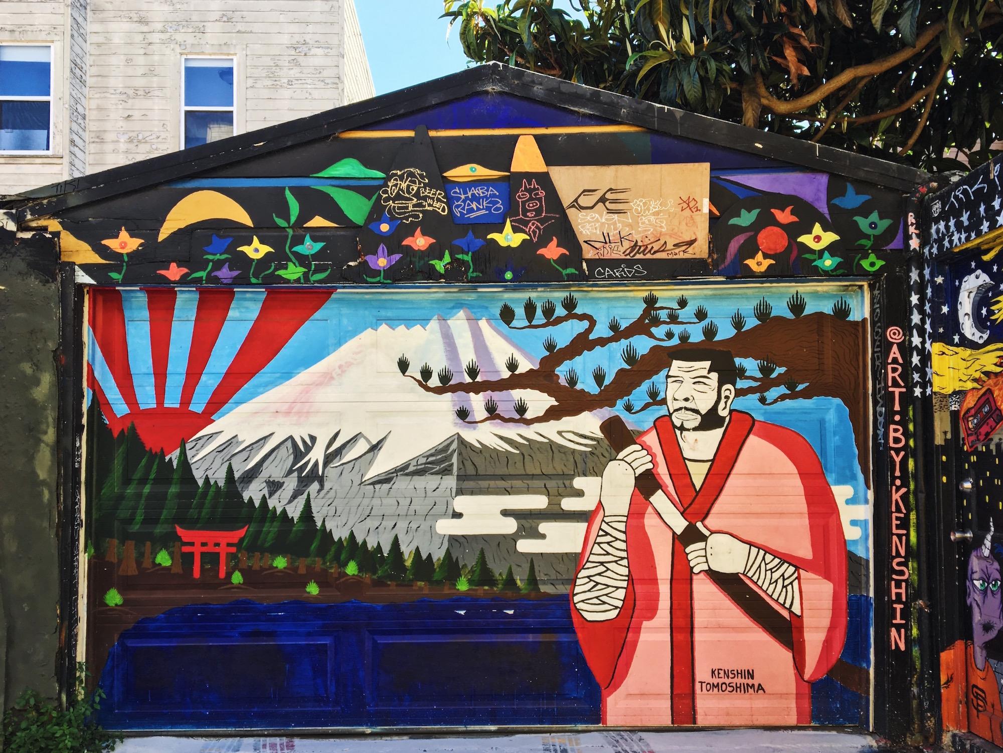 Clarion Alley - Murales nel quartiere Mission di San Francisco - Il Giappone a San Francisco - Murales Monte Fuji - Kenshin Tomoshima