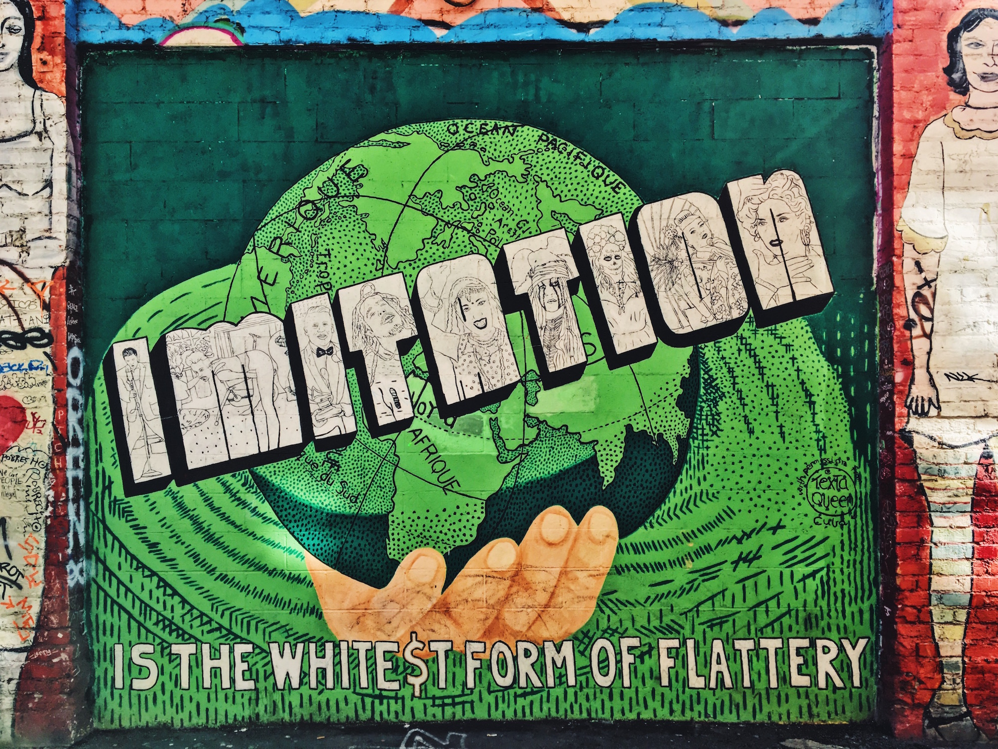 Clarion Alley - Murales nel quartiere Mission di San Fracisco - Imitation is the whitest form of flattery