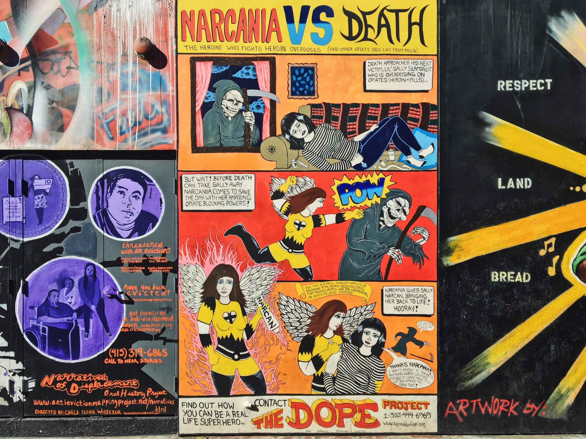 Clarion Alley - Murales nel quartiere Mission di San Francisco - Narcania VS Death - The heroine who fights heroin overdoses (2013) - Mike Reger, Erin Ruch