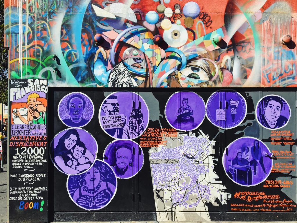 Clarion Alley - Murales nel quartiere Mission di San Francisco - Narratives of displacements