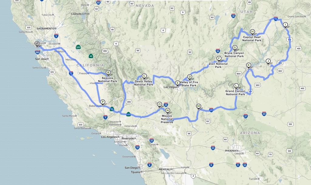 Itinerario in auto - road trip in America tra i parchi di California, Nevada, Utah e Arizona