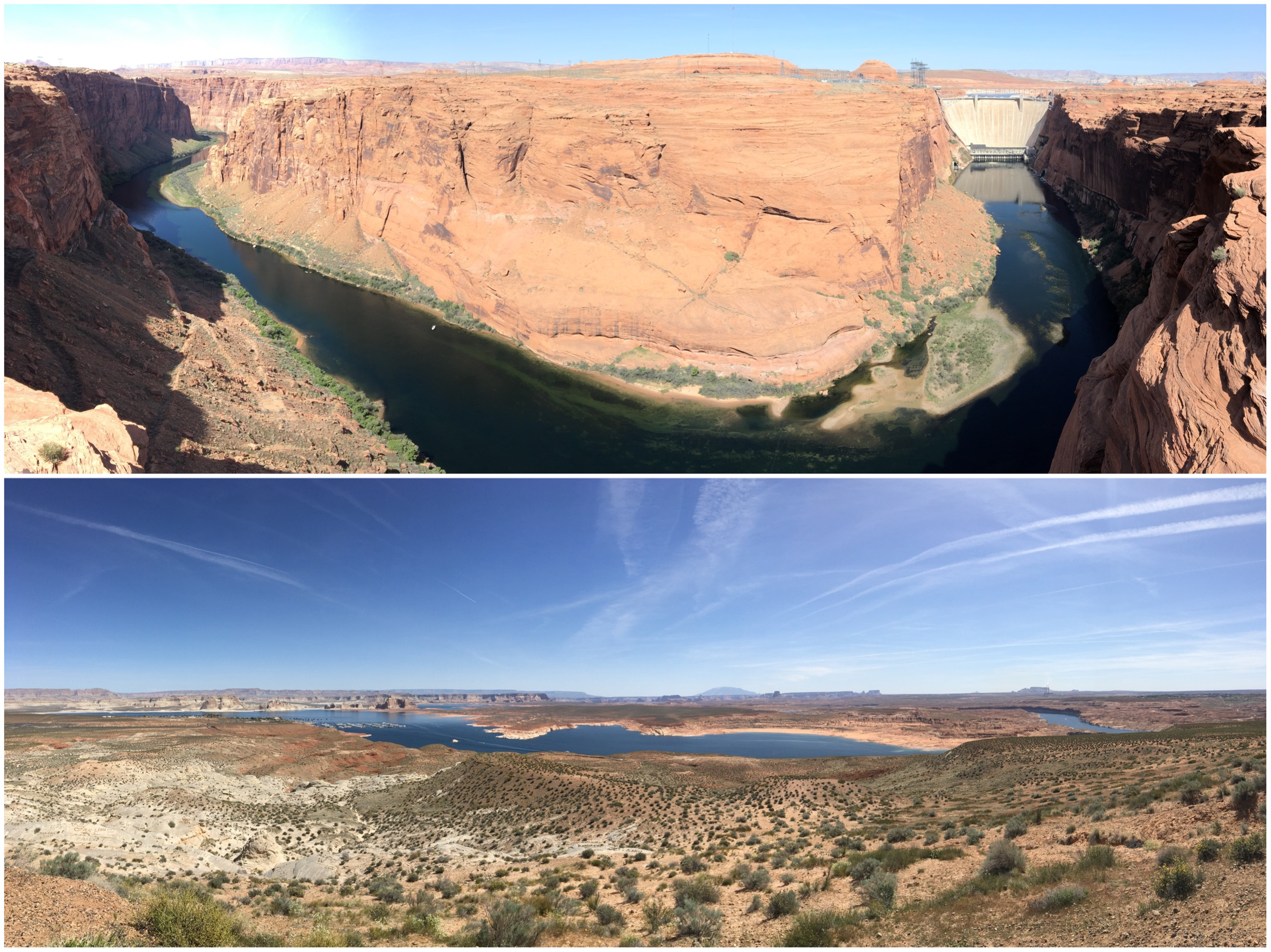 Glen Canyon Dam Overlook (la diga del Glen Canyon) e Wahweap Overlook sopra il Lago Powell