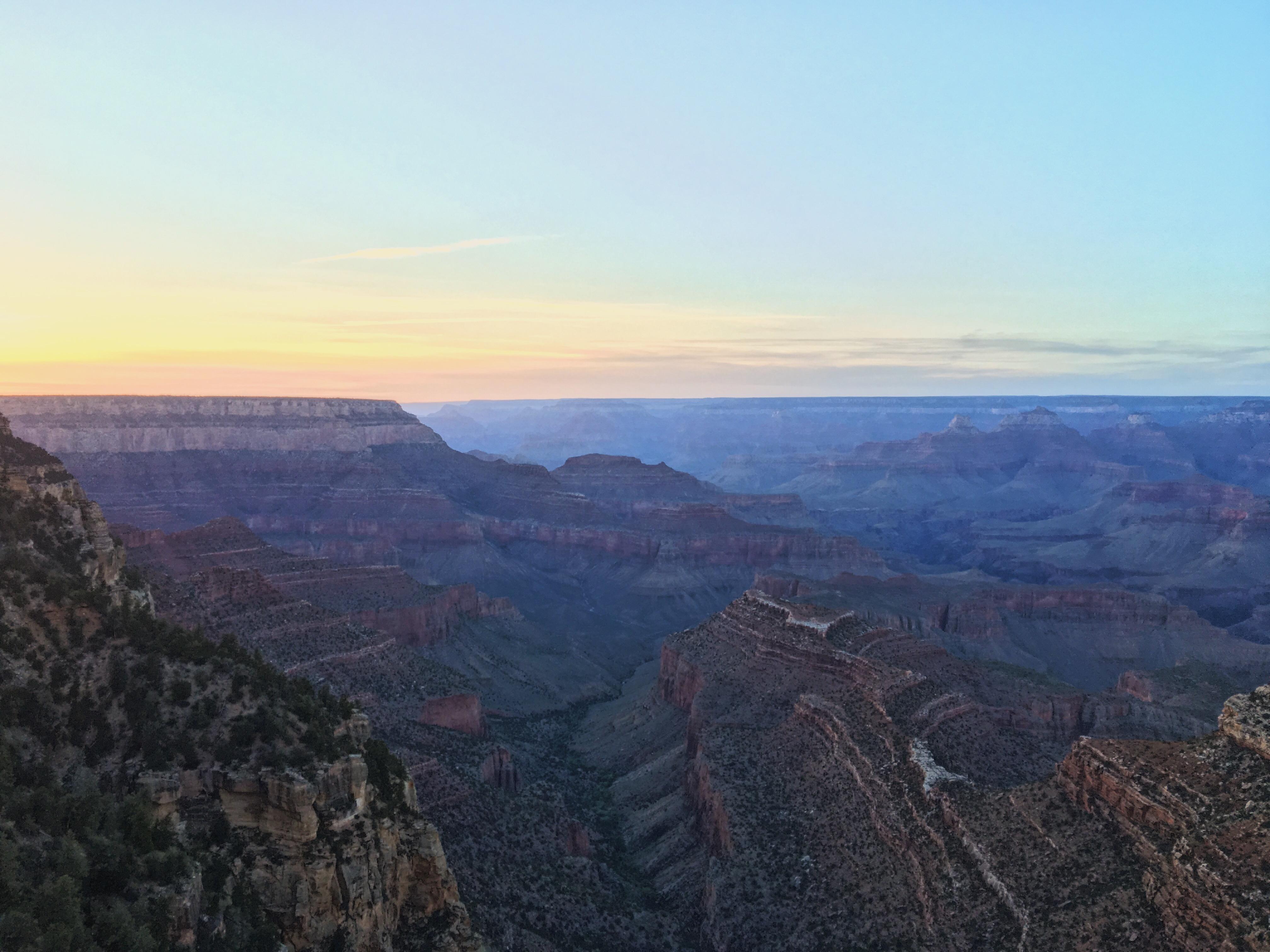 Il tramonto al Gran Canyon