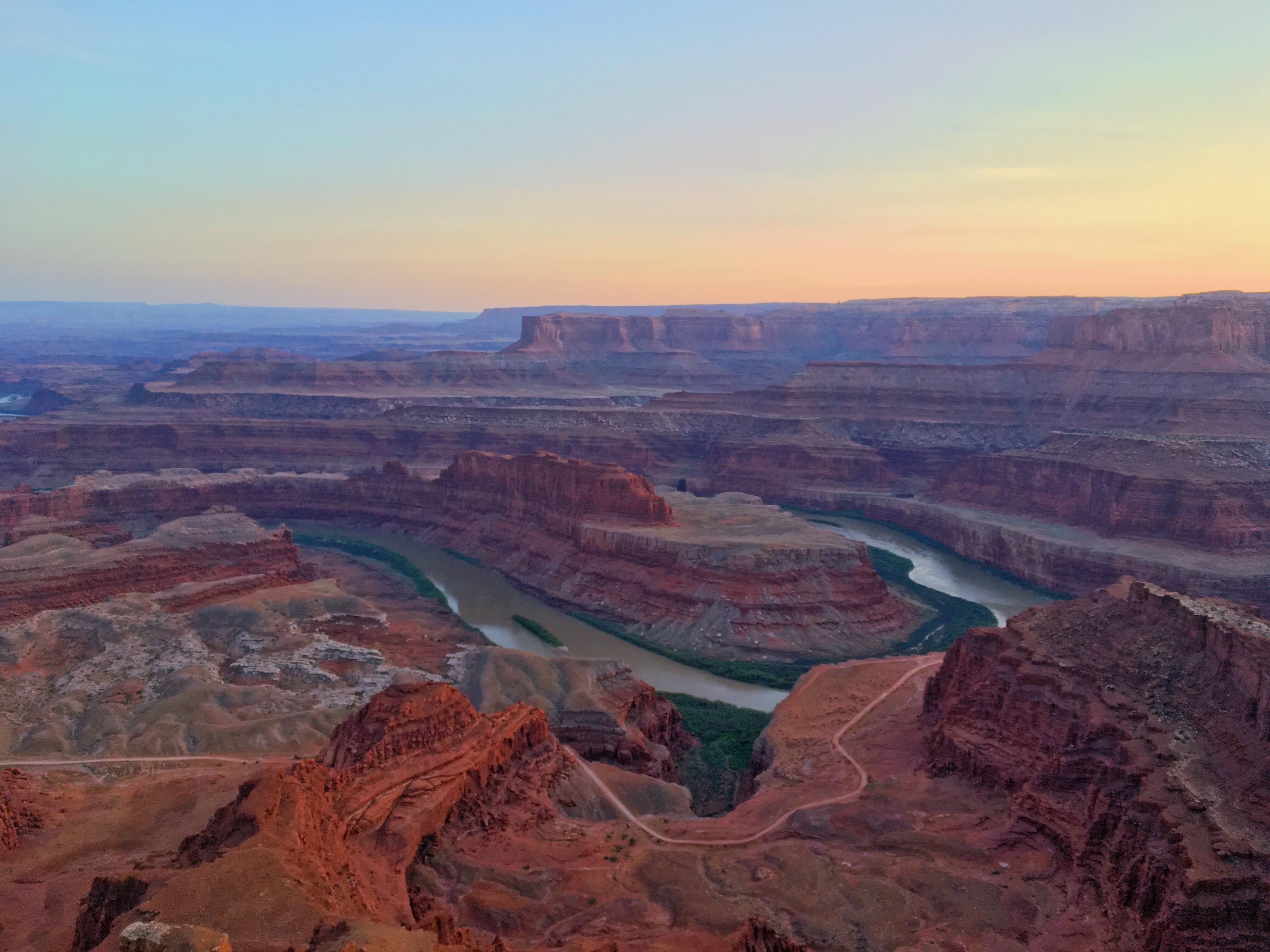 Il tramonto dal Dead Horse Point - la curva del fiume tra i canyon di Thelma e Louise