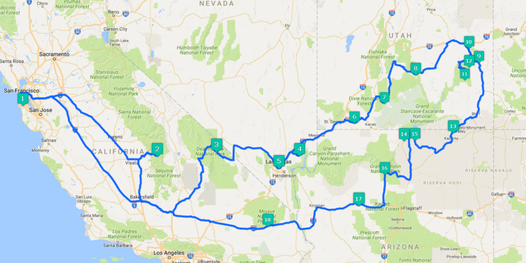 L'itinerario del mio road trip di dieci giorni tra i parchi degli USA - California, Nevada, Utah e Arizona