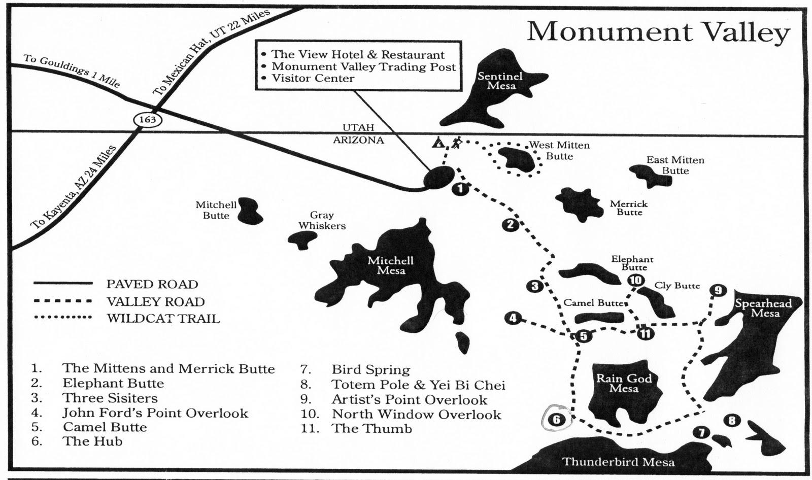 Mappa chiara della scenic drive della Monument Valley