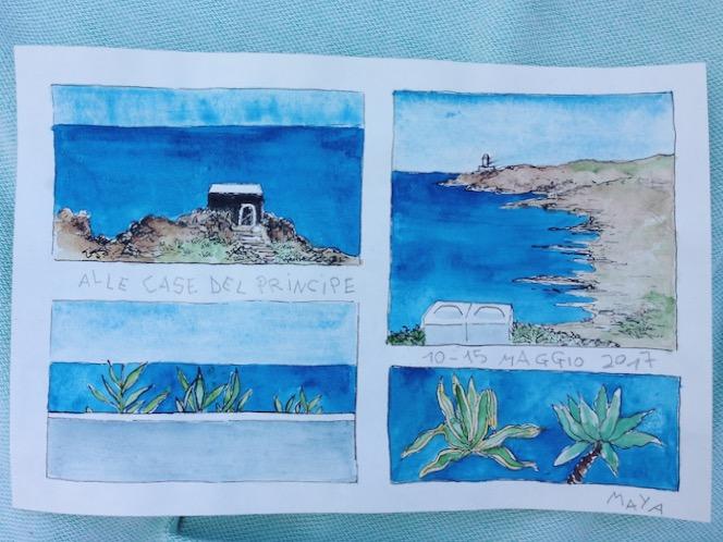 Acquerello Sicilia - Maya di Giulio - dove dormire in un dammuso sul mare a Pantelleria