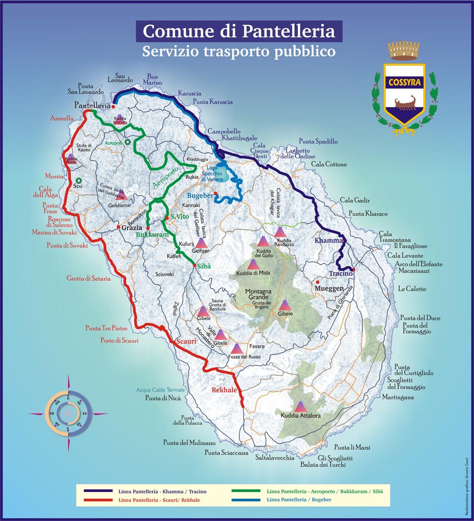 Cartina dei bus e dei trasporti sull'isola di Pantelleria
