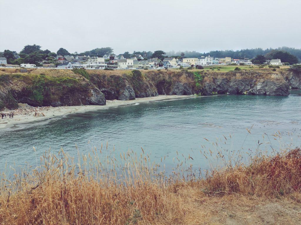Una passeggiata sulla scogliera e nella spiaggia davanti al paese di Mendocino in California
