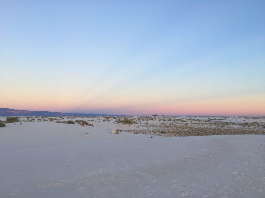 White Sands deserto di sabbia bianca - New Mexico - al tramonto