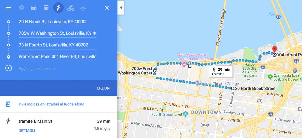 Itinerario a piedi di Louisville centro downtown