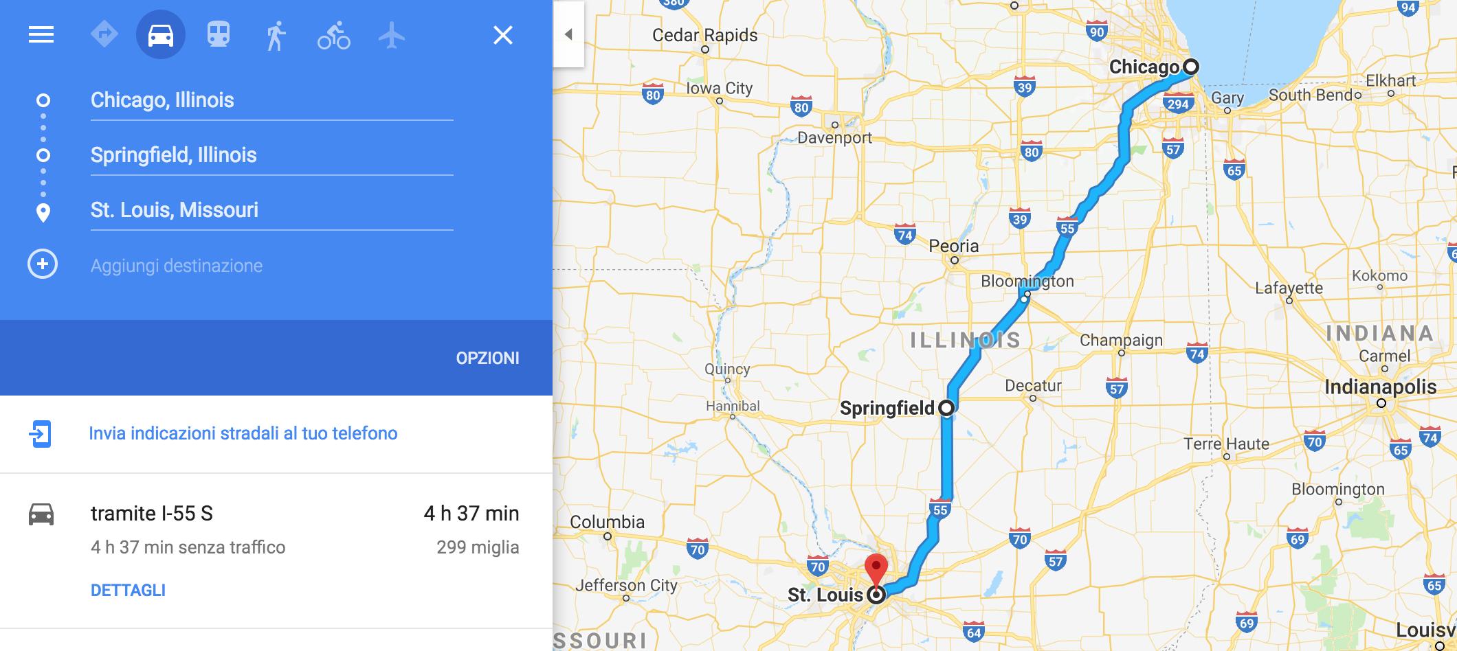 Itinerario da Chicago a St Louis con tappa a Springfield