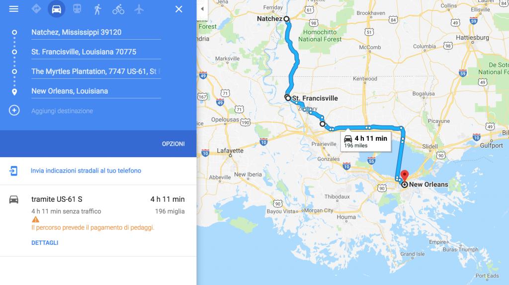 Itinerario road trip da Natchez a New Orleans